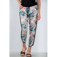 Ladies Fashion Drawstring Blush Floral Printed Contrast Trim Casual Pants - Size - M