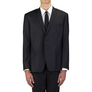 Versace Collection Men's Wool Three-Button Suit Black Pinstriped