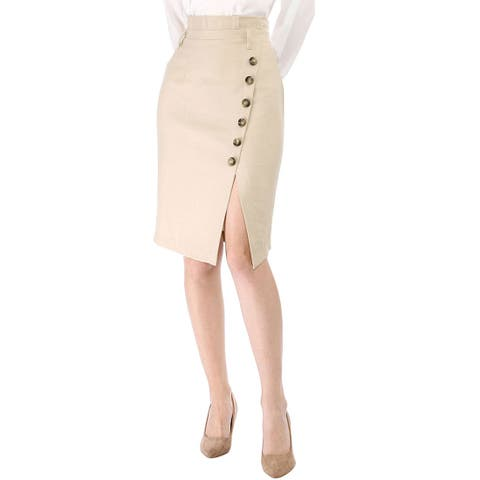 Women's Asymmetrical Button Decor Front Split Belted Vintage Midi Pencil Skirt - Biege