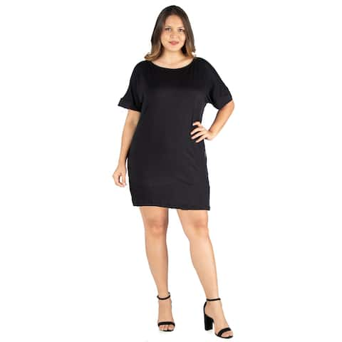 24seven Comfort Apparel Loose Fitting Plus Size T Shirt Dress