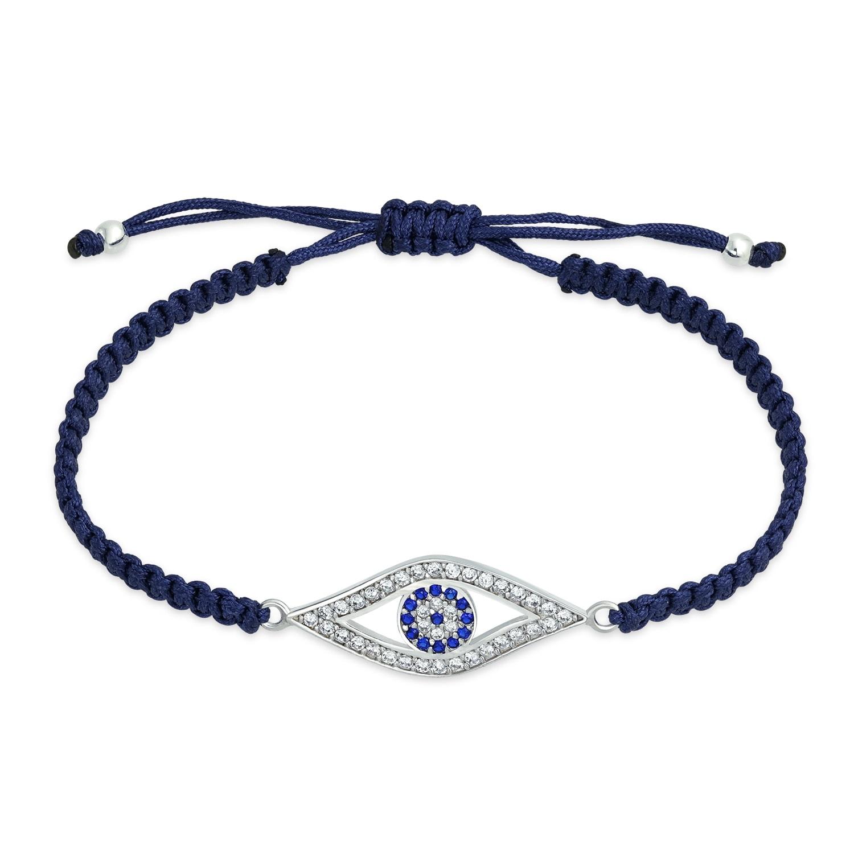 Sterling Silver Cubic Zirconia CZ Hand Braided Wristband Bracelet Adjustable