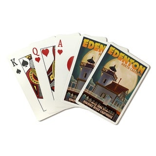 Edenton, North Carolina - Lighthouse & Moon Roanoke Rvr Lighthouse - Lantern Press Artwork (Poker Playing Cards Deck)