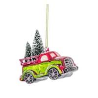 """Set of 6 Green and Red Truck with Trees Christmas Ornament 4.75"""""""