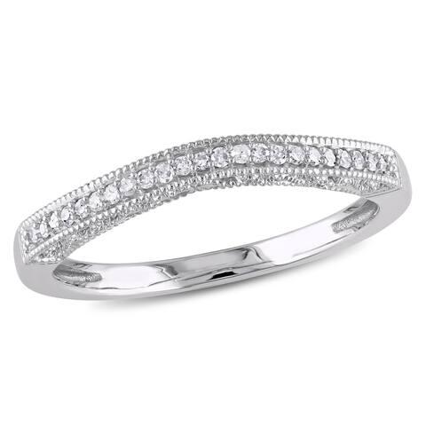 Miadora 10k White Gold 1/10ct. Diamond Curved Wedding Band