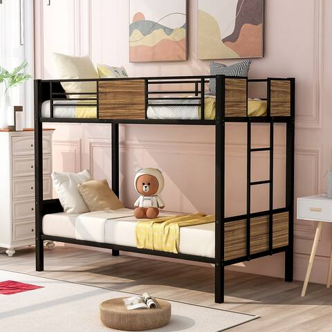 Moda modern style steel frame bunk bed with safety rail