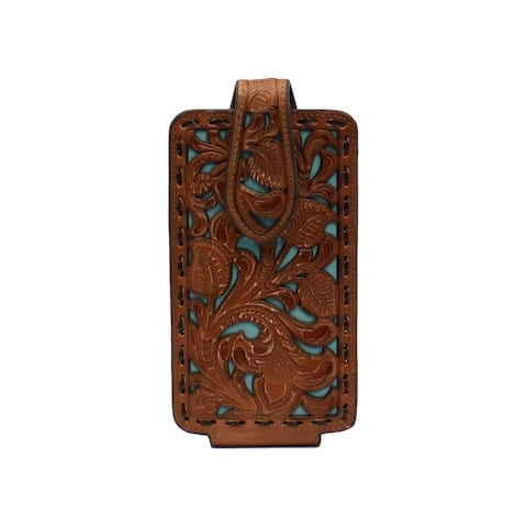 Nocona Western Cell Phone Case Floral Underlay Laced Tan