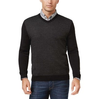 Club Room Houndstooth V-Neck Sweater Black and Grey X-Large