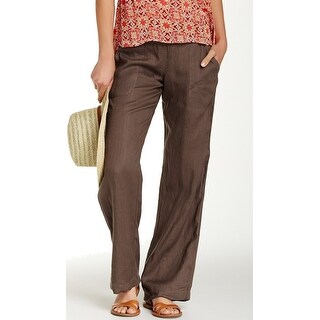 Allen Allen NEW Brown Womens Size Small S Pull-On Woven Linen Pants
