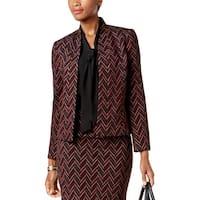 Kasper Womens Open-Front Blazer Jacquard Office Wear