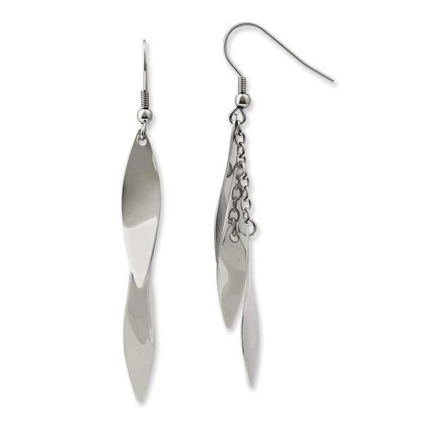 Chisel Stainless Steel Polished Fancy Dangle Earrings
