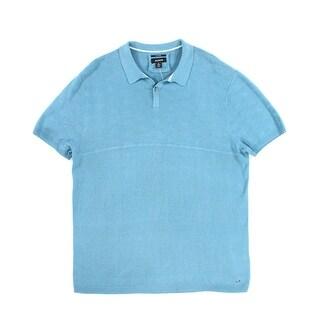 Alfani NEW Blue Mens Size XL Polo Rugby Silk Blend Short Sleeve Shirt