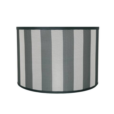 "Aspen Creative Drum (Cylinder) Shaped Spider Construction Lamp Shade in Hunter Green & White Striped (16"" x 16"" x 11"")"