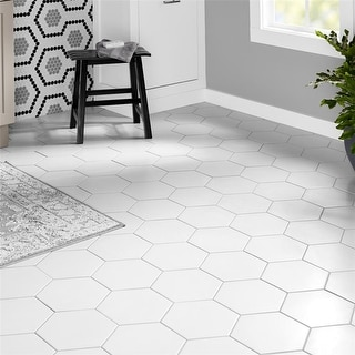 Link to SomerTile 8.625x9.875-inch Textilis Basic White Hex Porcelain Floor and Wall Tile (25 tiles/11.56 sqft.) Similar Items in Tile