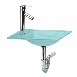 Bathroom Mini Counter Sink Green Glass Combo Package