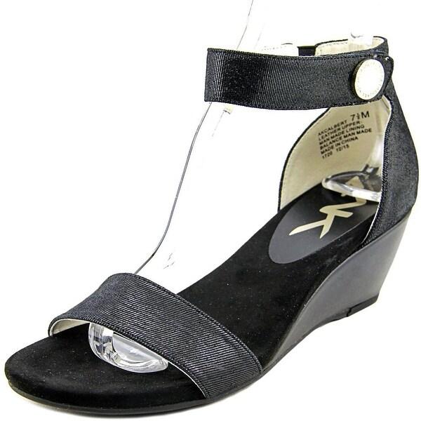 Shop Anne Klein Calbert Women Open Toe Leather Black Wedge