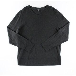 Alfani NEW Black Ice Heather Mens Size Large L Pullover V-Neck Sweater