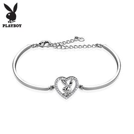 Multi Paved Gemmed Playboy Bunny Heart 316L Stainless Steel Cuff Bracelet (10 mm) - 7 in