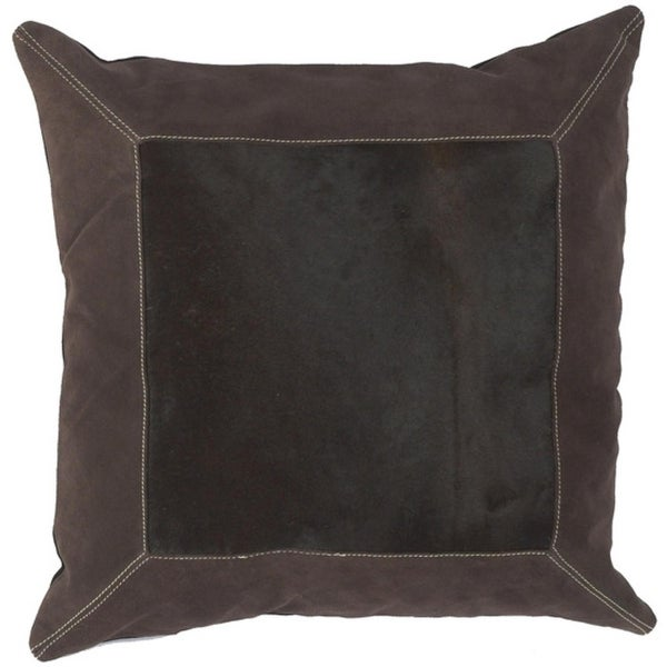 "18"" Framed Square Chocolate Brown and Ecru Beige Decorative Down Throw Pillow"