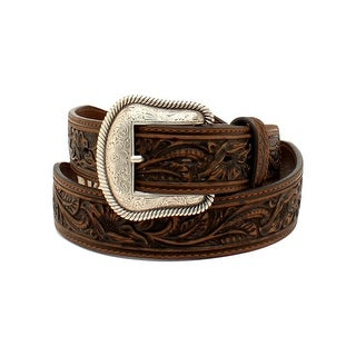 Nocona Western Belt Mens Starburst Conchos Floral Brown