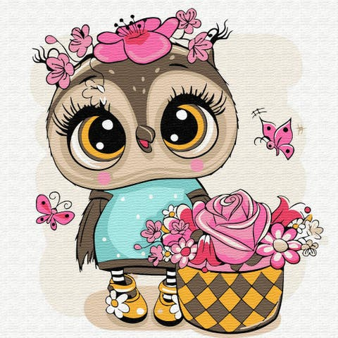 Owl with a Basket of Flower Paint-by-Number Kit for Kids