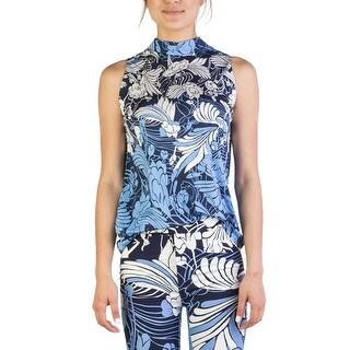 Miu Miu Women's Silk Sleeveless Floral Print Blouse Blue - M