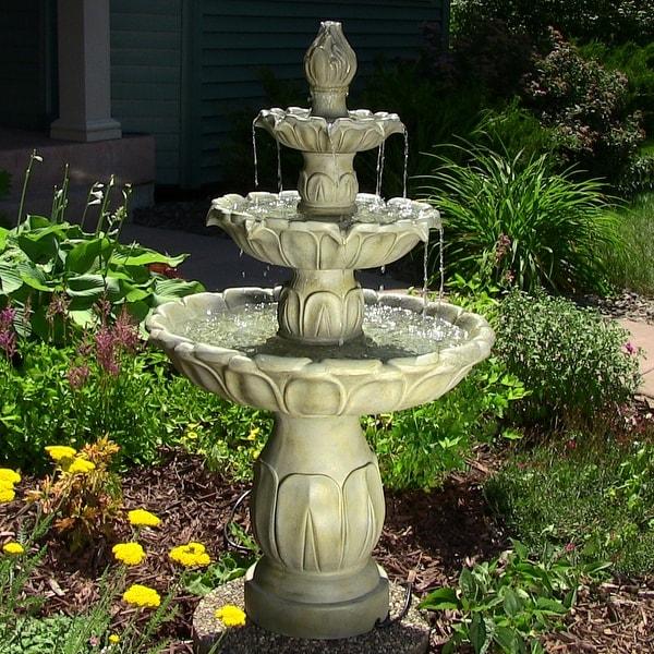 Sunnydaze Classic Tulip 3 Tier Fountain, 46 Inch Tall
