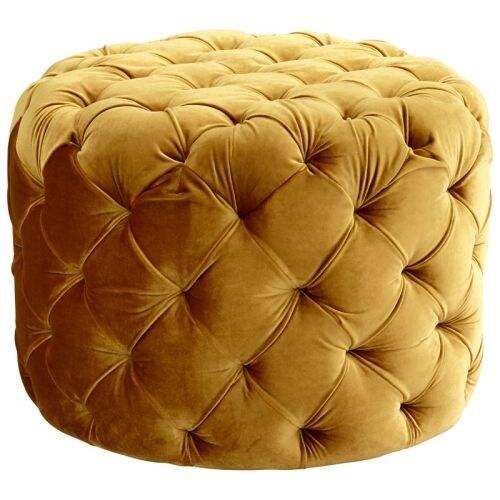 Cyan Design Miss Muffet Ottoman Miss Muffet Round Wood and Foam Ottoman - Gold