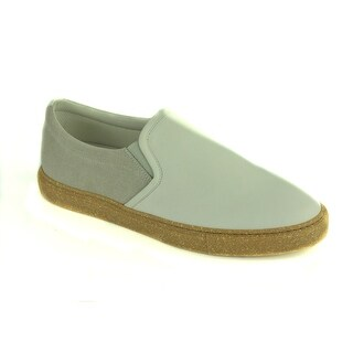 Brunello Cucinelli Grey Leather Textured Gum Bottom Slip On Sneakers