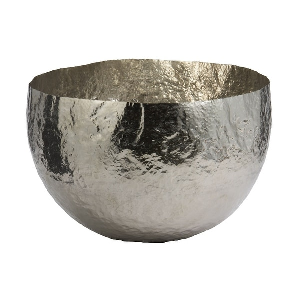 Elk Home 346018 Hammered Nickel-Plated Brass Dish - Large - Silver