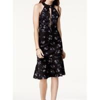 Endless Rose Black Womens Size Large L Floral Cutout Sheath Dress