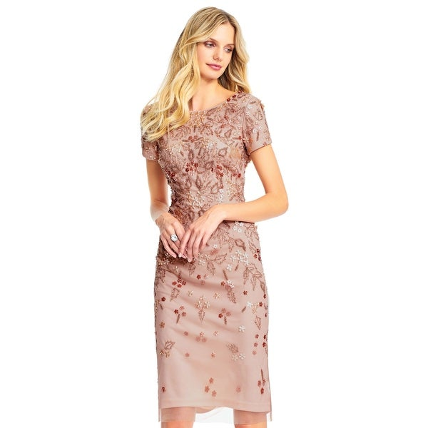 4f3ff53123 Adrianna Papell Short Sleeve Cocktail Dress Sequin Florals, Rose Gold, 4