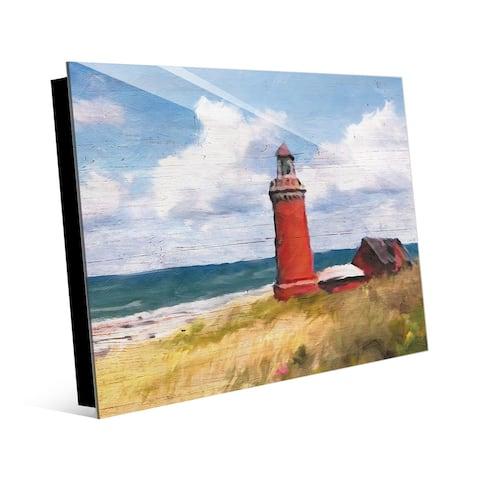 Kathy Ireland Red Lighthouse on the Beach Nautical on Acrylic Wall Art Print