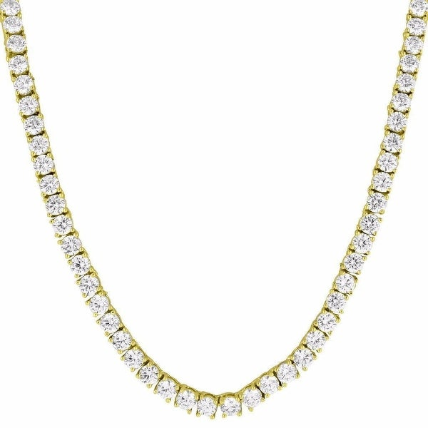 "14k Gold Tone Mens Iced Out Tennis Link Necklace Lab Diamond 24"" Chain 4mm"