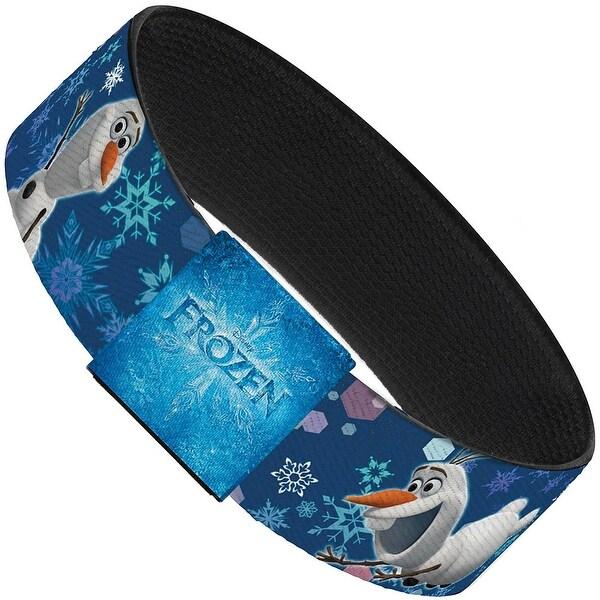 "Frozen Olaf Poses Snowflakes Blues Elastic Bracelet 1.0"" Wide"