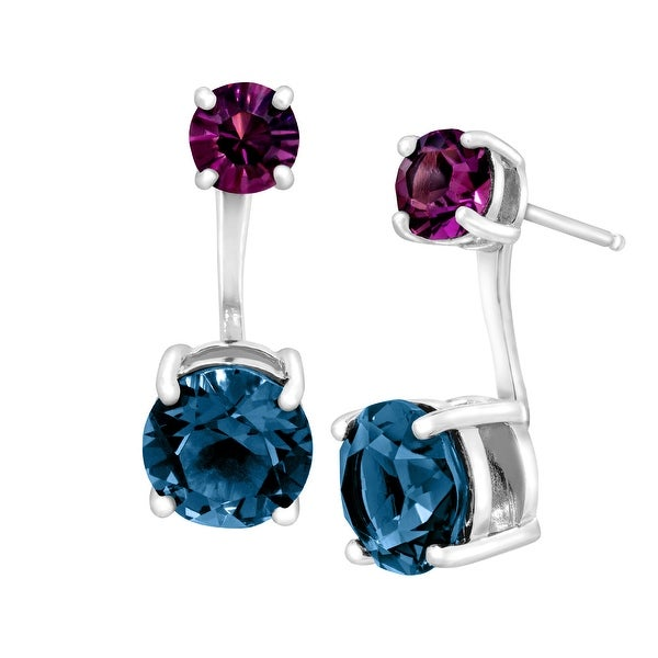 Crystaluxe Floater Earrings with Blue & Purple Swarovski Crystals in Sterling Silver