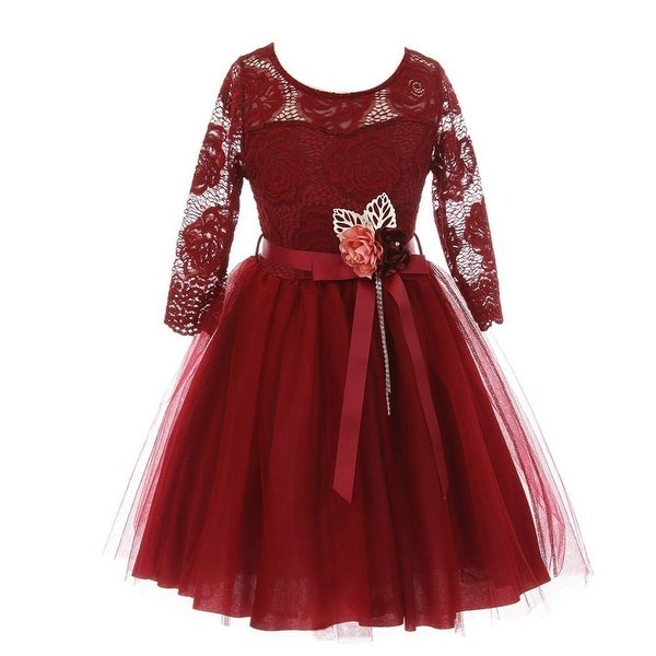 f4416a4d2c Shop Girls Burgundy Floral Lace Long Sleeve Mesh Overlay Flower Girl Dress  - Free Shipping On Orders Over  45 - Overstock - 19294326