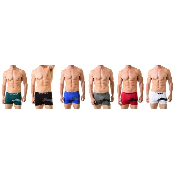 Men's Moto Harley Pattern Seamless Boxer Briefs Classic Shorts Shorts Underwear  6-Pack(One Size)