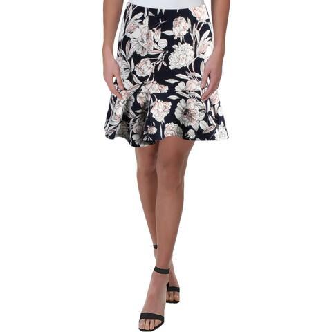 Aqua Womens A-Line Skirt Floral Daytime - L
