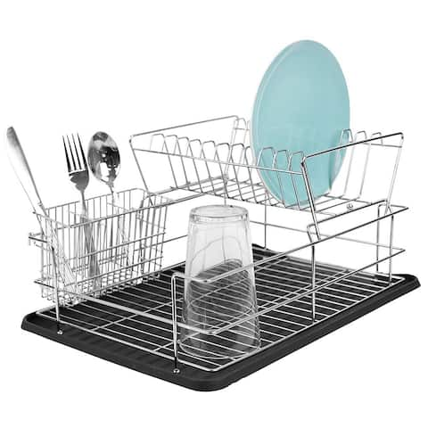 Home Basics Deluxe 2-Tier Dish Draining Rack with Plastic Tray, Black, 12x17x8 Inches - Black