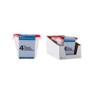 Square Plastic Storage with Lids - 57 oz - 6 Units