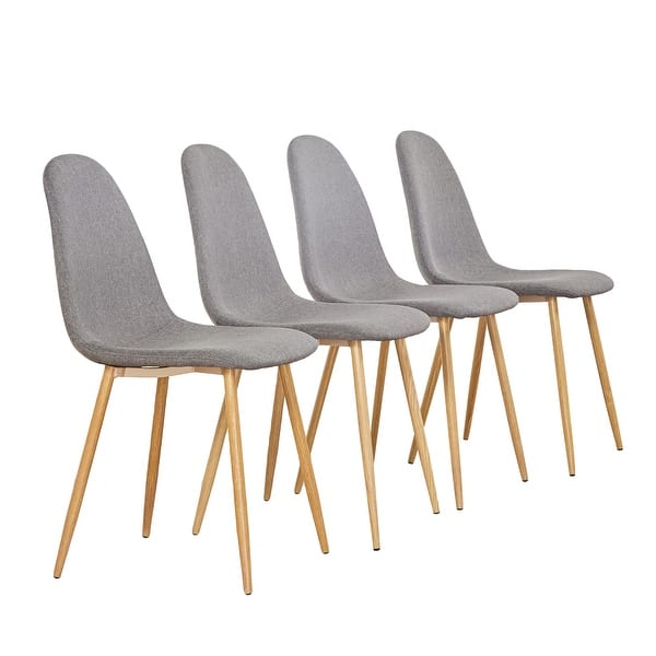 Shop Mcombo Dining Side Chairs Strong Metal Legs Fabric ...