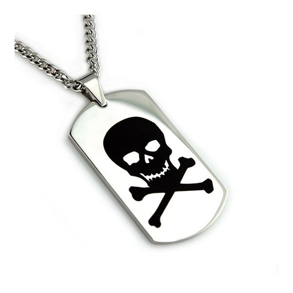 Stainless Steel Men's Skull Engrave Dog Tag Pendant - 24 inches