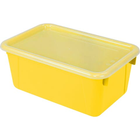 Storex small cubby bin with cover yellow 62410u06c - Clear