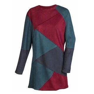 Women's Faux Suede Colorblock Long Sleeve Dress
