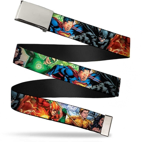 "Blank Chrome 1.0"" Buckle Justice League New 52 Superhero Action Poses Web Belt 1.0"" Wide - S"