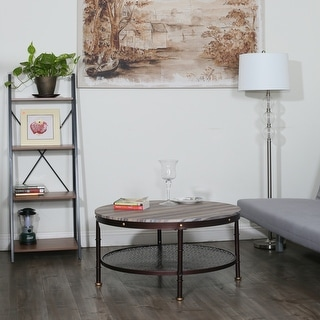 Link to Davee Round Wood and Metal Coffee Table - dia 36 in Similar Items in Living Room Furniture