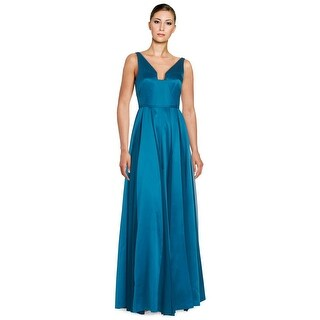 Halston Heritage Seamed Satin Sleeveless Fit & Flare Evening Gown Dress - 0