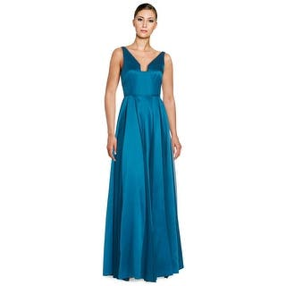 Halston Heritage Seamed Satin Sleeveless Fit Flare Evening Gown Dress Spruce 0
