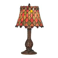 """13.5"""" Antique Brass Manti Hand Crafted Glass Tiffany-Style Accent Lamp"""