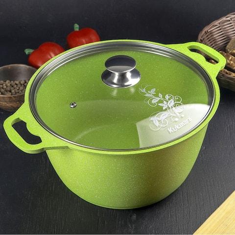 KUKMARA 4.2 Qt - Lime, Aluminium Marble Coated Non-Stick Pot w/Glass Lid